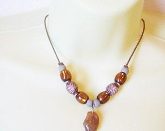 boho brown bead stone necklace gemstone nugget cord necklace hippie gypsy handmade jewelry  #jewls3044