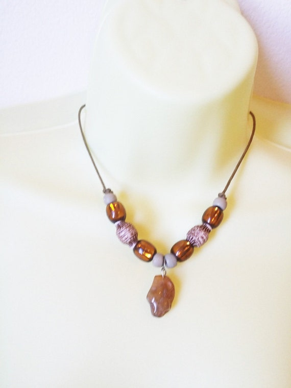 handmade boho necklace handmade stone necklace gemstone nugget brown bead necklace cord hippy gypsy handmade original jewelry