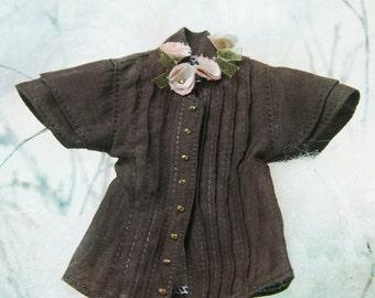 jiajiadoll coffee brown flower shirts for Momoko or Misaki or Blythe or Middie Blythe or ob27 ob23