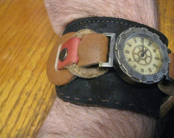 Free shipping Steampunk watch strap, rich dark brown and paler accent pieces, perfect gift for him, perfect gift for her, chunky