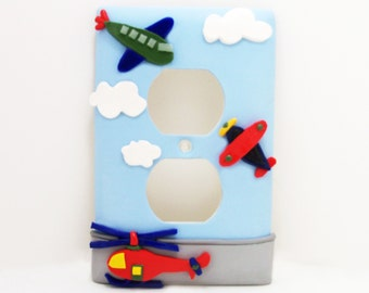 Airplane Helicopter Light Switch or Outlet Cover - Aviation Nursery - Children's Airplane Themed Room Decor - Clay - Toggle or Rocker Cover