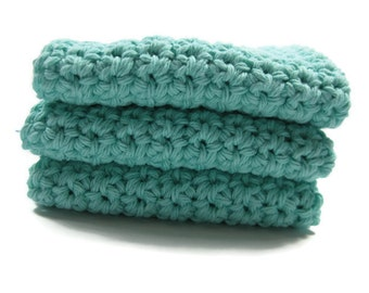 Seabreeze Crochet Cotton Dish Cloth Wash Cloth Set of Three