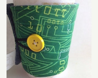 Winter Clearance Coffee Cozy / sleeve, quilted fabric Green Circuit board