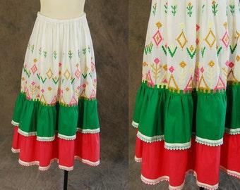 vintage 70s Skirt - 1970s Hand Embroidered Folk Skirt - Boho Ethnic Peasant Midi Skirt Sz S M