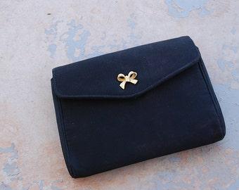 vintage 50s Clutch - 1950s Black Satin Evening Bag Bow Purse