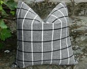 SET OF 2 Black White Plaid Pillow, Window Pane Plaid Pillow Cover, Custom for HB, 20x20, Eco Chic Repurposed, Grey Plaid Cushion Cover