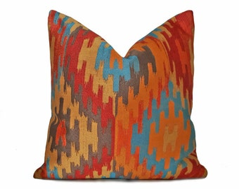 Southwestern Pillows, Orange Blue Gold Pillow, Aztec Pillow Covers, Turquoise, Teal, Orange Pillow, Vibrant Fall Colors, Cabin, 18x18, NEW