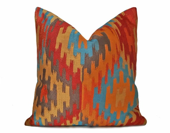 Southwestern Pillows Orange Blue Gold Pillow Aztec Pillow