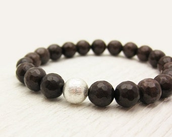 Chocolate Jade Stacking Bracelet in Sterling Silver / faceted mocha brown / woodland nature bohemian inspired /