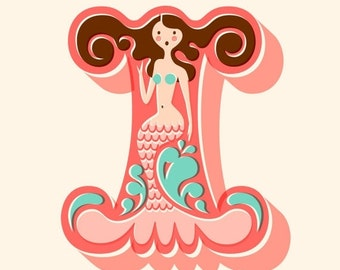 """SHOPWIDE SALE 11X14"""" mermaid letter I giclee print on fine art paper. coral pink, turquoise blue, brunette, cream background."""