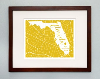 Florida State Map Print - 8x10 Wall Art - Florida State Nickname - Typography - Housewarming Gift
