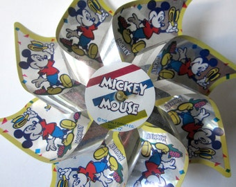 Walt Disney Mickey Mouse Club PIN WHEEL Rare Vintage Collectible Vibrant Colors Set of 2