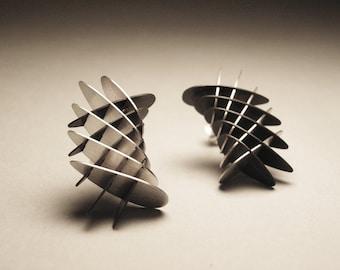 Geometric Torus Mini Segment Earrings - Fade Finish - Sterling Silver