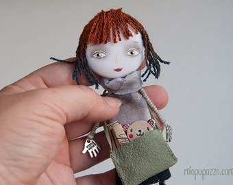 School Girl, Brooch, Art Doll, mixed media collage, gift for her