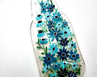 Spoon Rest, Kitchen Trivet,  Melted Clear Beer Bottle,  Hand Painted Turquoise  Flowers,  Candle Holder