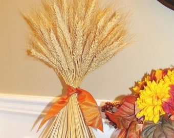 WREATH SALE Wheat Sheaf Fall Decor- Thanksgiving Decoration- Thanksgiving Centerpiece Wheat Sheaf With Ribbon- Mantle Decoration- Fall