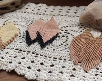 HMW Original Hand beaded Bead Fringe earrings Pink Gold Ivory Arrow Bits Feather shape