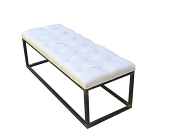 Bench White Tufted Upholstered With Iron Base Living Room Bedroom Dining