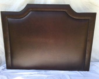 Queen Size Brown Leather Upholstered Headboard Queen Headboard Brown Headboard with Nails Queen Size Headboard with Nailheads Leather