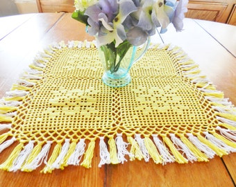 Yellow Doily, Yellow Square Doily, Yellow Mat, Hand Crocheted Doily, Table Mat