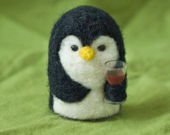 Needle Felted Penguin - Holding Glass of Wine