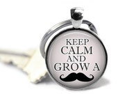 ON SALE - Keep Calm Mustache Charm Keychain - Inspirational, Gifts for Teachers, Birthday Gift, Quote, Graduation Gift, Keys, Gifts for Men,