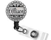 ON SALE - Personalized Retractable Badge Holder (Blk) - Nursing Student, Gifts for Nurses, Graduation Gift, Thank You Gift, Nurse Lanyard, B