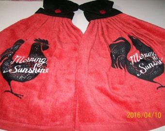 Red & Black Rooster Kitchen Towel Set
