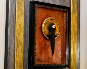 """3D Art Sculpture Assemblage """"THRUST"""" Handmade Steampunk Industrial Recycled Upcylced Wood Hardware Clock Mixed Media Medieval Found Object"""
