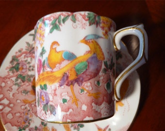 Royal Crown Derby Demi Tasse Cup & Saucer~OLDE AVESBURY Pattern~Pink~Turquoise