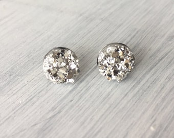 Silver Faux Druzy Stud Earring, 8mm Stud Earring, Metallic Earrings / 1b