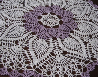 Crochet, lavender and  white table center, doily, napkin, pineapple designed, new, ready to mail, made by Demet