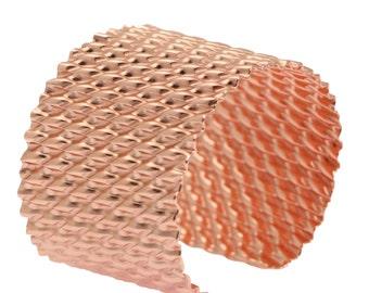 Corrugated Copper Cuff Bracelet, Rose Gold Tone Womens Cuffs, Wide Copper Cuff, Statement Cuffs, Copper Bracelets, 7th Anniversary Gifts