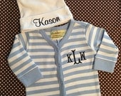 2 piece striped monogrammed baby boy gift set. Baby Boy Gift Set. 3-6 month only.