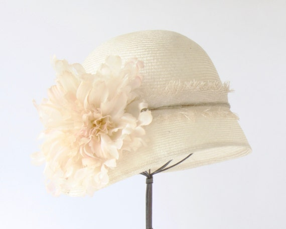 Bridal Cloche Hat  Straw Hat Women's Straw Cloche Hat Spring Accessories Flapper Hat Great Gatsby Hat Ivory Cloche Hat Summer Hat Boho Chic