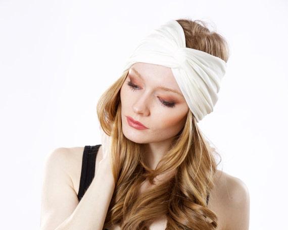 1920s Headband Great Gatsby Turban Twist Knot Headband Boho Chic Style Spring Fashion Accessory Stretchy Headband Ivory White Hair Accessory