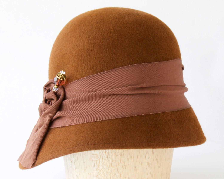 cloche hat s hat brown hat deco hat 1930s hat