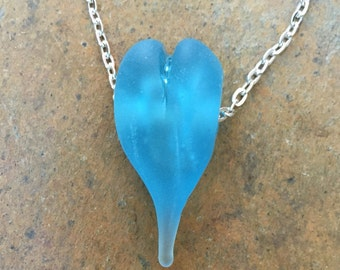 Recycled Bombay Sapphire Gin Bottle Hollow Heart Bead Pendant