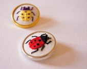 SALE Ladybug Ladybird Embroidered Brooch hand embroidery Natural History Entomology Wildlife Jewelry Woodland Accessory Nature Lover Gift