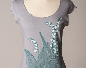 SUMMER SALE lily-of-the-valley women's shirt, lily of the valley shirt, gray shirt, scoop neck, cap sleeves