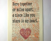 Niece quote, saying, poem, print on a book page, Here together or miles apart, a niece like you stays in my heart