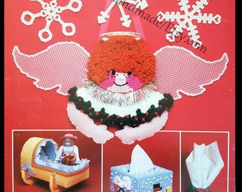 Christmas Plastic Canvas Pattern - Toy Truck, Angels, Cradle, Tissue Holder, Snowflakes and More - 11 Projects -