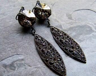 Black Widow, Gothic Earrings, Gothic Jewelry, Dark Jewelry, Spider Web, Swarovski Earrings, Rivoli Earring, Long Earrings