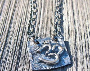 Cast Sterling OM Pendant, Long Sterling Chain, Oxidized Chain and Pendant, OOAK