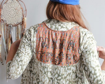 Grateful Dead Mama Tried 13 Point Bolt Sweater Sweater Festival Hippie Boho Gypsy Womens Clothing OOAK Size XS