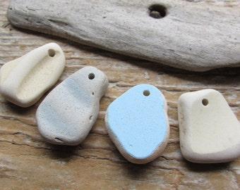 SALE Ceramic BEACH POTTERY Pendants Beach Glass Pendant Charms