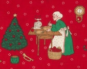 Christmas fabric, Cotton, Red background Christmas trees, Old timey pictures, Cats, Gifts, 22 inches wide, 28 in. long Generous FAT QUARTERS