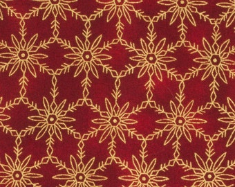 Red Christmas Fabric 100 percent cotton Red background, Metallic gold outlined snowflakes in a grid pattern, Fat Quarters