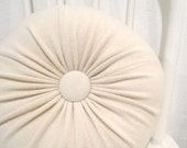 Cream Cashmere Round Throw Pillow / Accent Decorative Couch Cushion / Felted Cashmere Wool Pillow No904