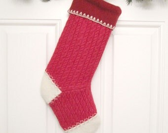 Red Customizable Christmas Stocking Personalized Holiday Decoration Handcrafted from Felted Wool Sweaters no747